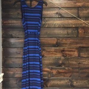Blue & Navy Striped Maternity Tank Maxi Dress